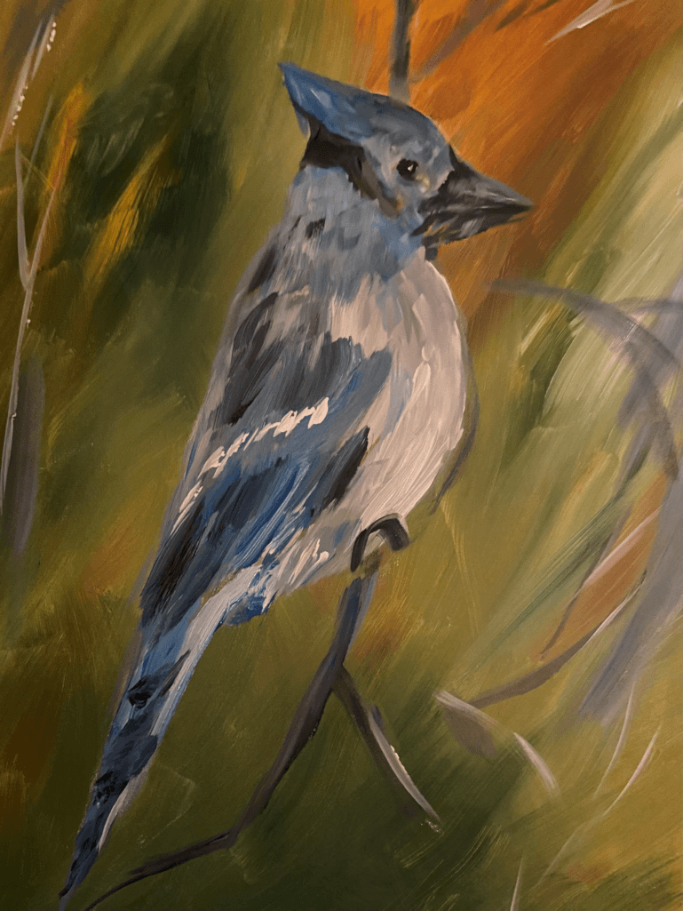 24 x 30 painting of Blue Jay – used for label of our New blended red fruit wine