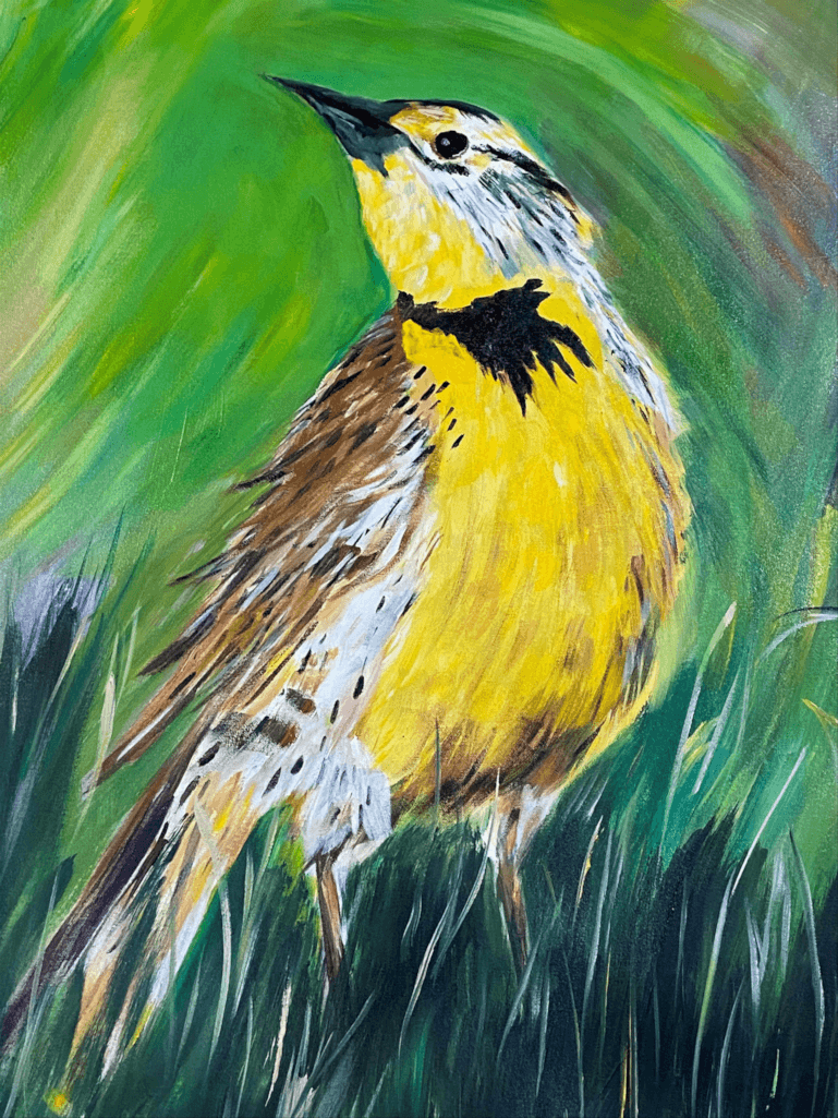 24 x 30 painting used for our label of Meadowlark White Wine