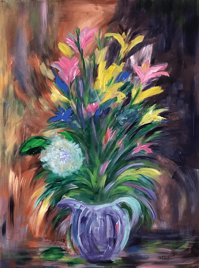 Spring Flowers 30 x 40 acrylic painting