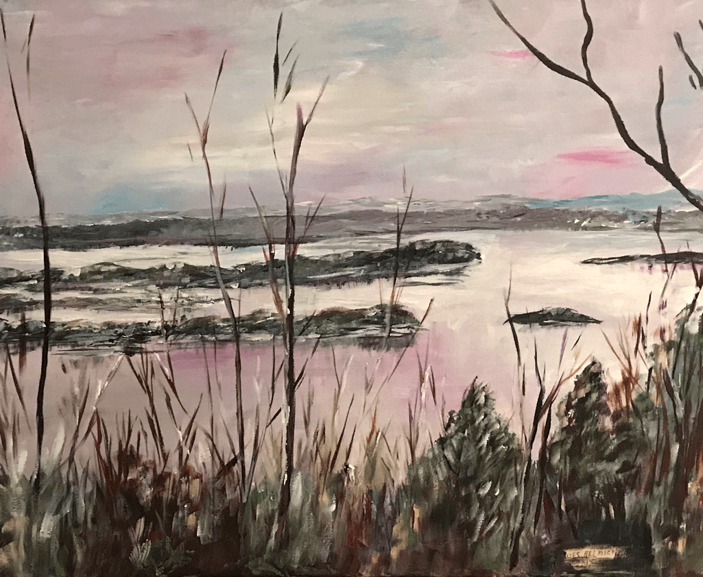 24 x 30 painting of Mississippi River as seen from Whispering Bluffs Vineyard