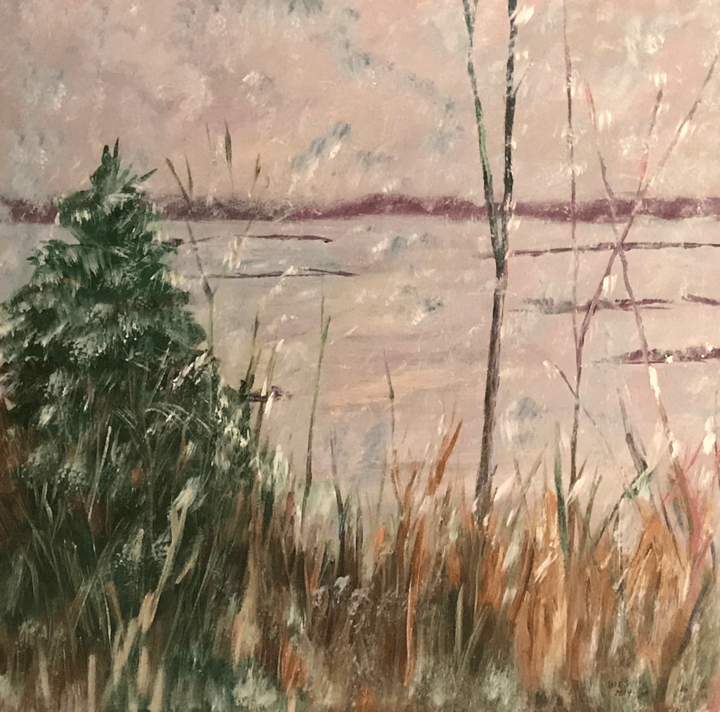 30 x 40 painting of Mississippi River – view from Vineyard