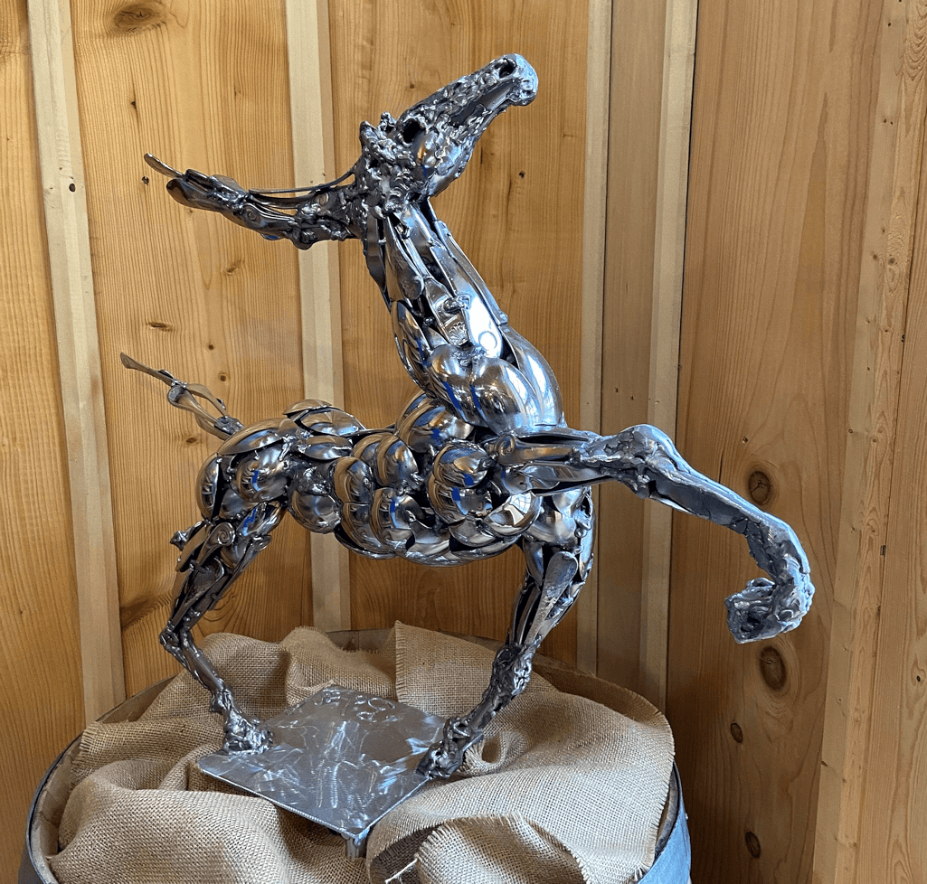 """""""Prancing Pony"""", 18 – 10 stainless steel sculpture created by Boban Illic , renowned Serbian artist"""
