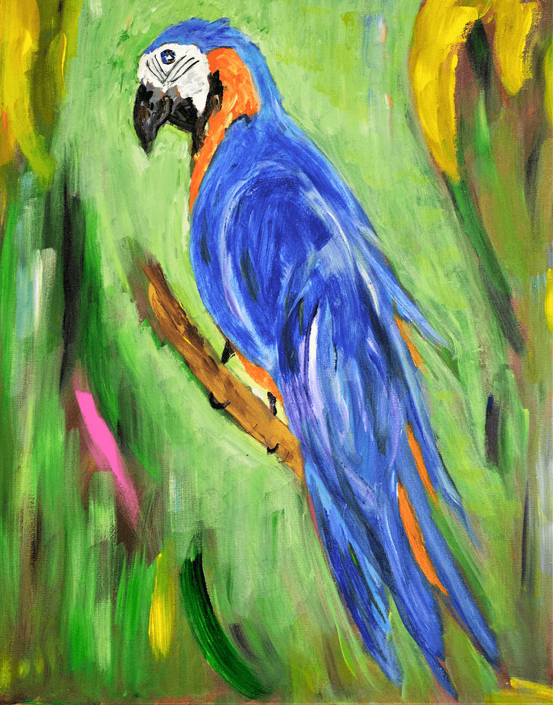 """""""BLUE PARROT """" 30"""" x 40"""" acrylic painting"""