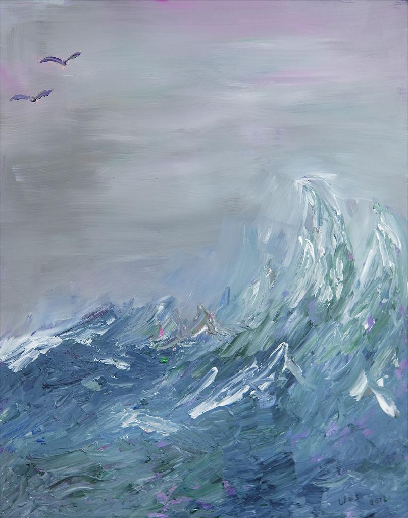 """Petrels in flight"" 24"" x 30"" acrylic painting"